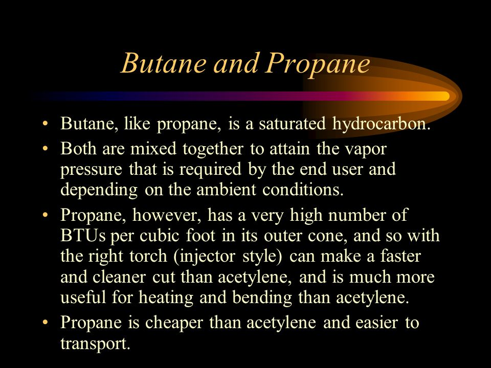 Butane and Propane Butane, like propane, is a saturated hydrocarbon.