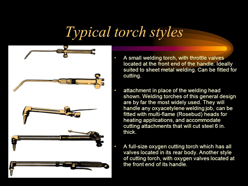 Typical torch styles A small welding torch, with throttle valves located at the front end of the handle.
