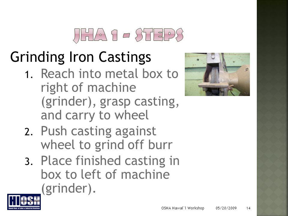 OSHA Hawai`i Workshop 05/20/2009 14 Grinding Iron Castings 1.