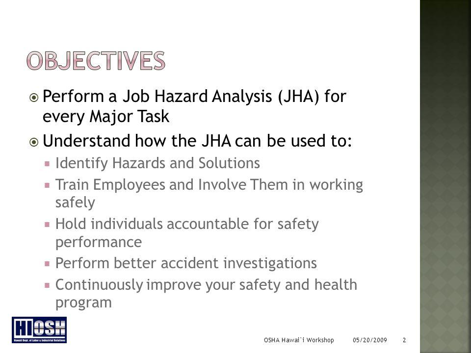 OSHA Hawai`i Workshop 05/20/2009 3  Accident Hazard Analysis (AHA)  Job Safety Analysis (JSA)  Task Safety Analysis (TSA)