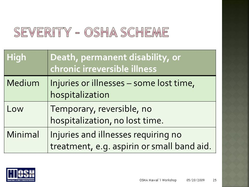 OSHA Hawai`i Workshop 05/20/2009 25 HighDeath, permanent disability, or chronic irreversible illness MediumInjuries or illnesses – some lost time, hospitalization LowTemporary, reversible, no hospitalization, no lost time.