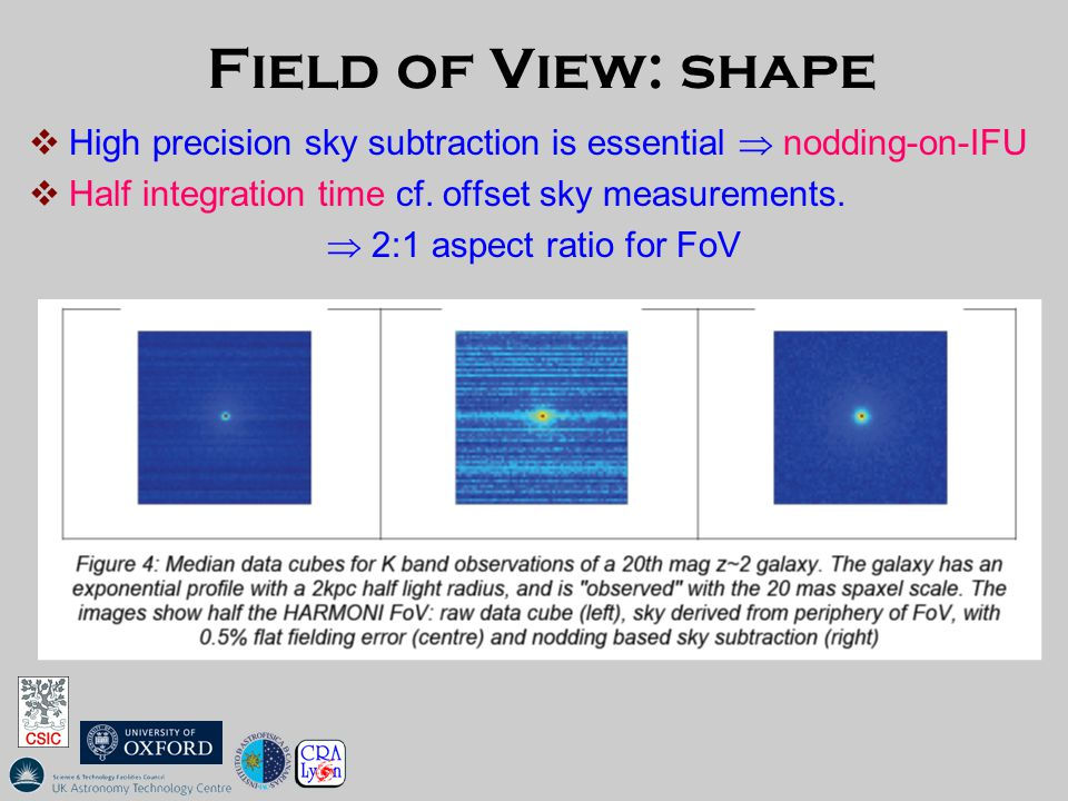 Field of View: shape  High precision sky subtraction is essential  nodding-on-IFU  Half integration time cf.