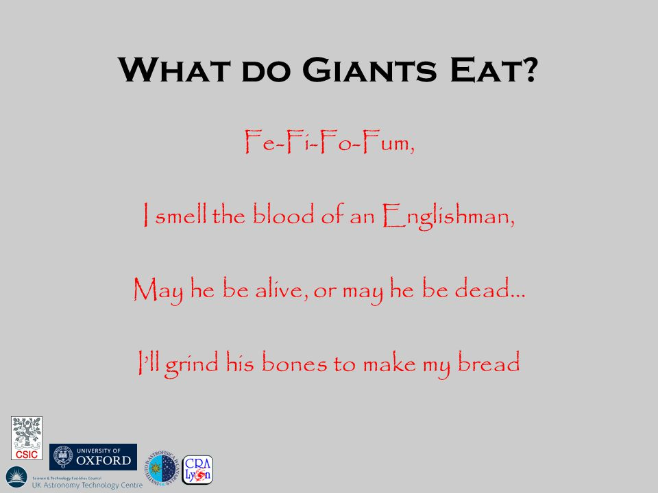 What do Giants Eat? Fe-Fi-Fo-Fum, I smell the blood of an Englishman, May he be alive, or may he be dead… I'll grind his bones to make my bread