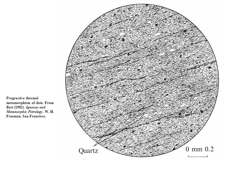Progressive thermal metamorphism of slate. From Best (1982). Igneous and Metamorphic Petrology. W. H. Freeman. San Francisco.