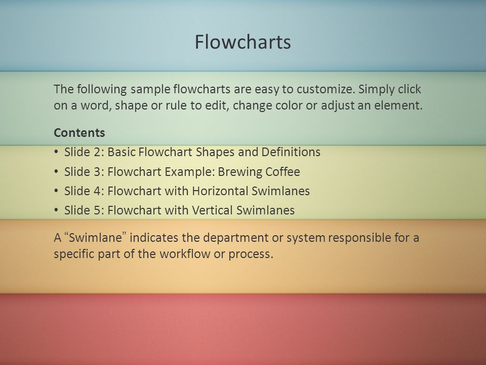 Flowcharts The following sample flowcharts are easy to customize.