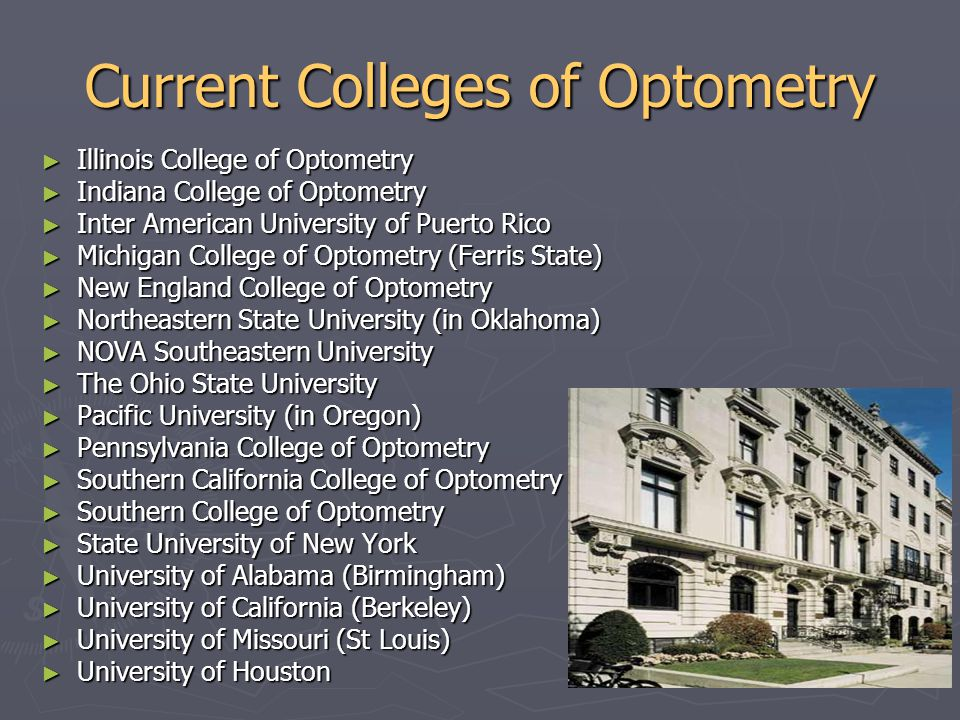 Current Colleges of Optometry ► Illinois College of Optometry ► Indiana College of Optometry ► Inter American University of Puerto Rico ► Michigan Col