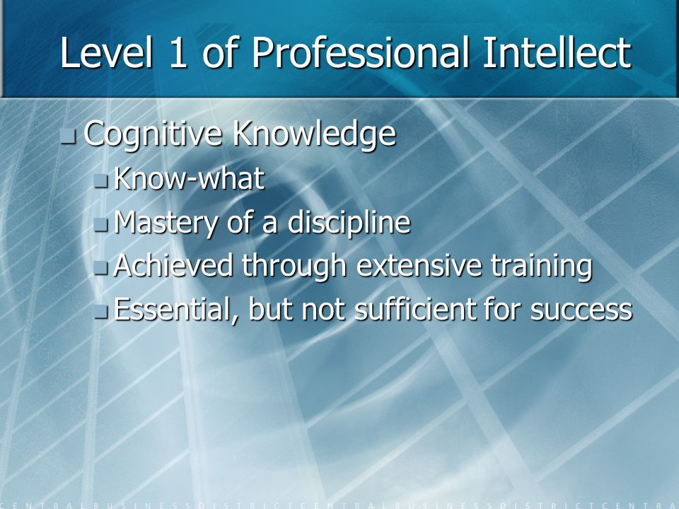 Level 2 of Professional Intellect Advanced Skills Advanced Skills Know - how Know - how Ability to apply the rules of a discipline to complex problems Ability to apply the rules of a discipline to complex problems The most widespread value creating professional skill level The most widespread value creating professional skill level