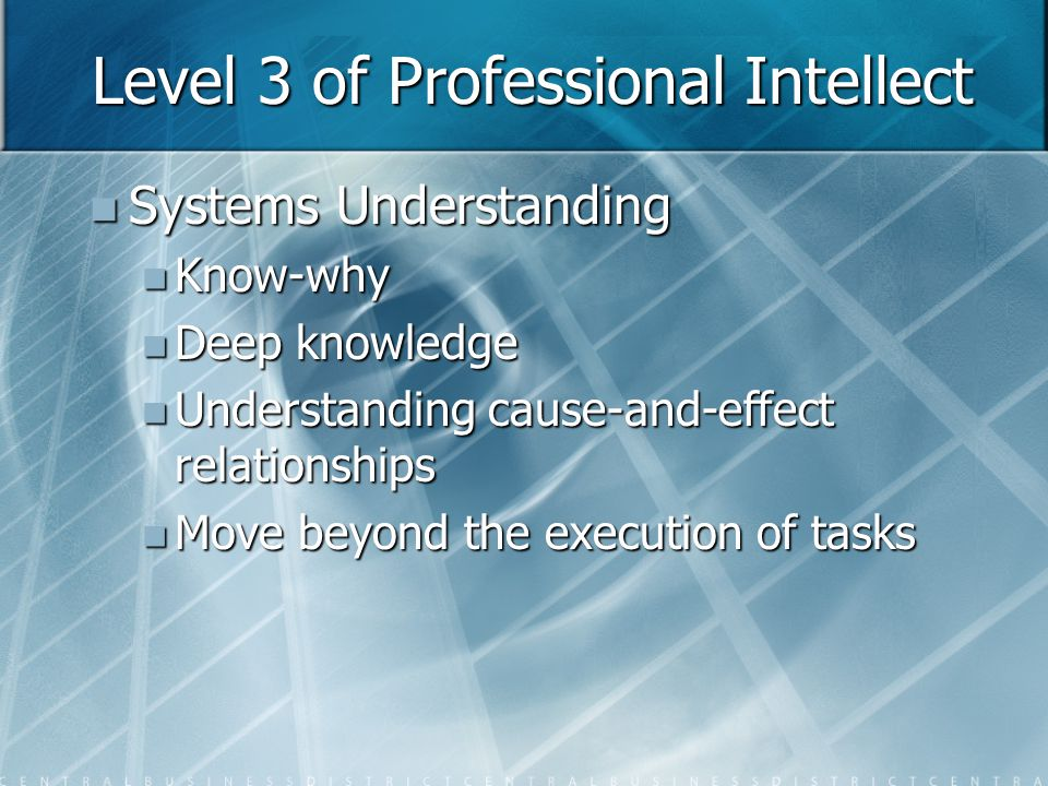 Level 4 of Professional Intellect Self-motivated creativity Self-motivated creativity Care-why Care-why Consists of will, motivation, and adaptability to success Consists of will, motivation, and adaptability to success Not always necessary Not always necessary Organizations that nurture care-why's thrive Organizations that nurture care-why's thrive Resides in the culture of an organization Resides in the culture of an organization