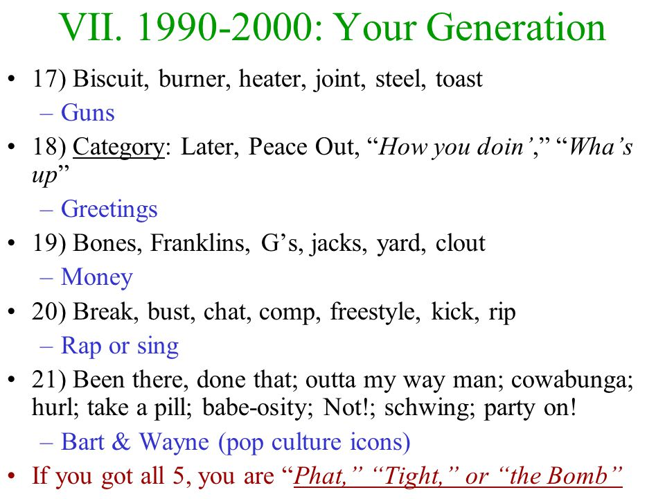 VII. 1990-2000: Your Generation Times have been good –Strong economy, no world wars, high college rates Three Major Influences –Pop culture (TV & Movi