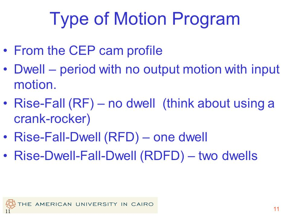 11 Type of Motion Program From the CEP cam profile Dwell – period with no output motion with input motion. Rise-Fall (RF) – no dwell (think about usin