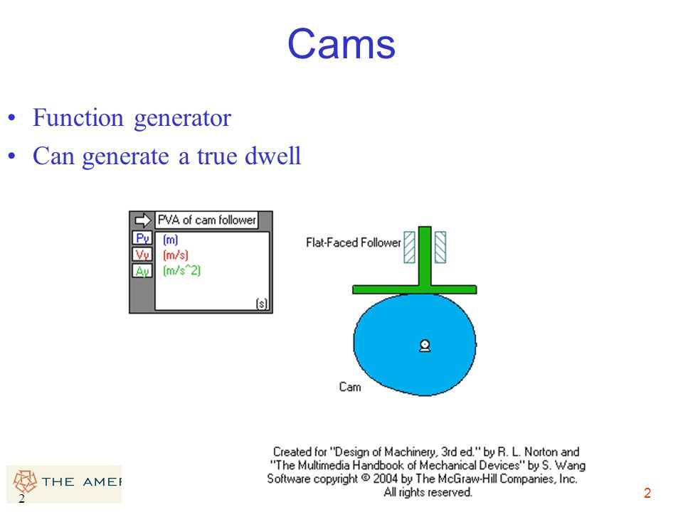 2 2 Cams Function generator Can generate a true dwell