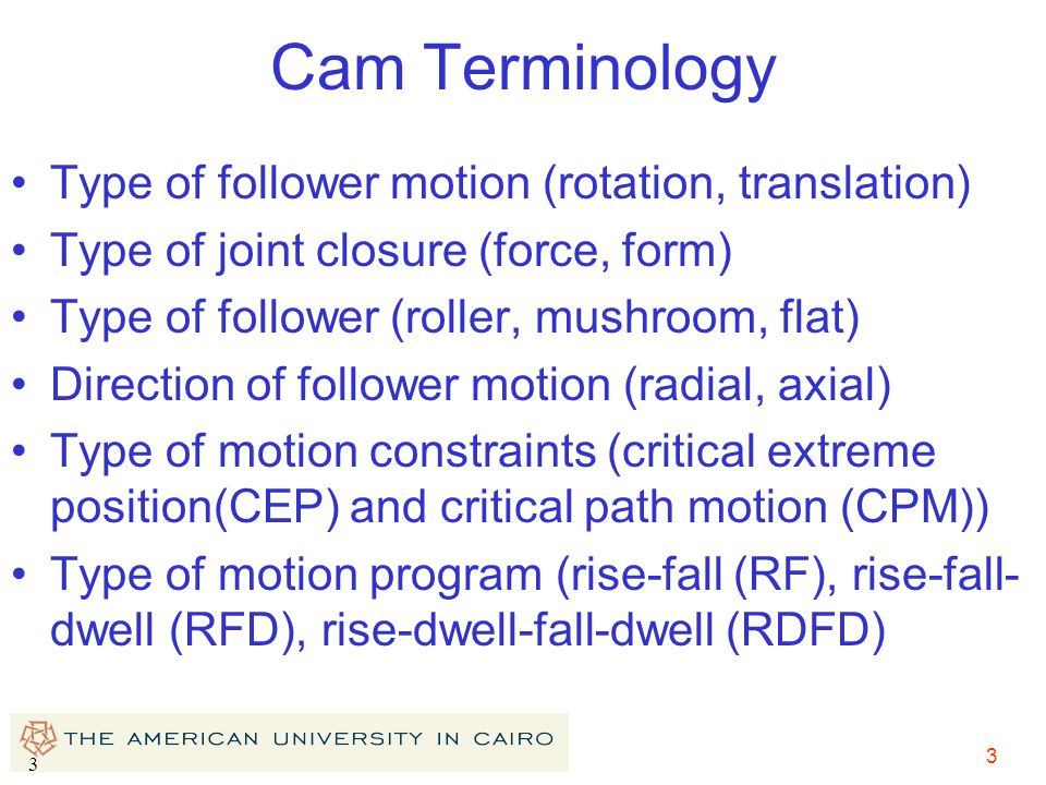 3 3 Cam Terminology Type of follower motion (rotation, translation) Type of joint closure (force, form) Type of follower (roller, mushroom, flat) Dire
