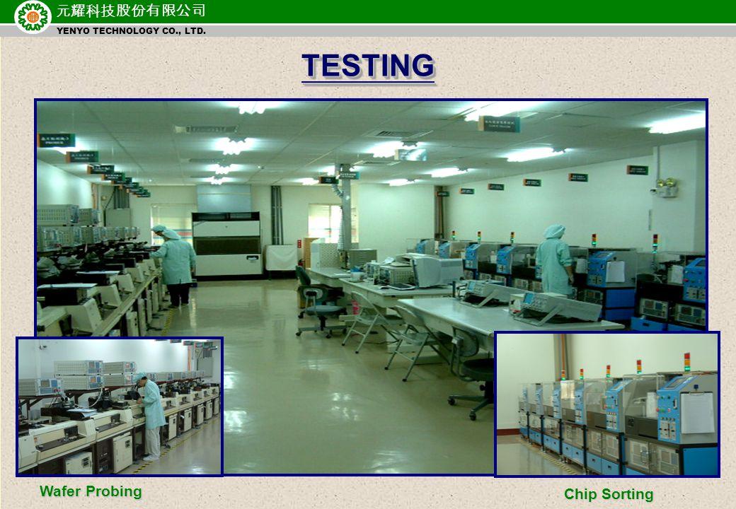 元耀科技股份有限公司 YENYO TECHNOLOGY CO., LTD. TESTINGTESTING Wafer Probing Chip Sorting