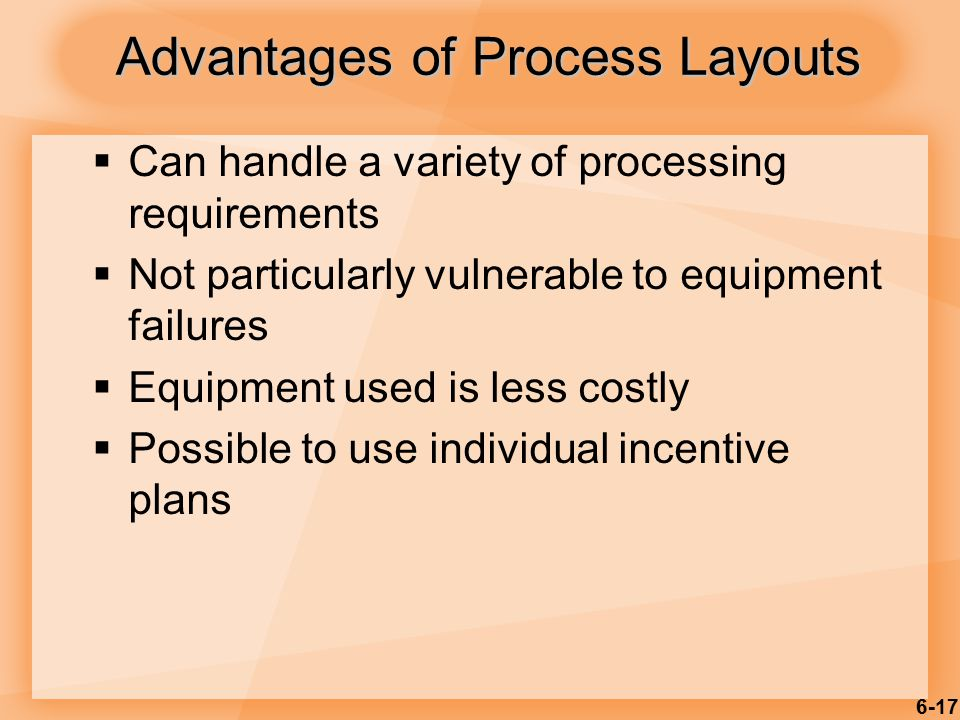 6-17  Can handle a variety of processing requirements  Not particularly vulnerable to equipment failures  Equipment used is less costly  Possible