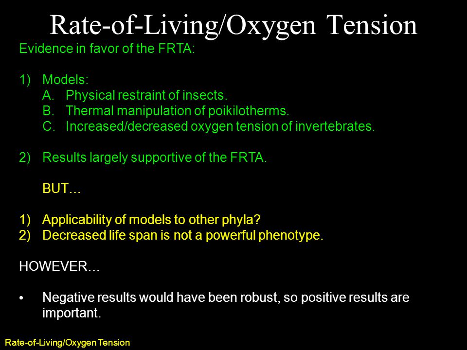 Rate-of-Living/Oxygen Tension Evidence in favor of the FRTA: 1)Models: A.Physical restraint of insects.