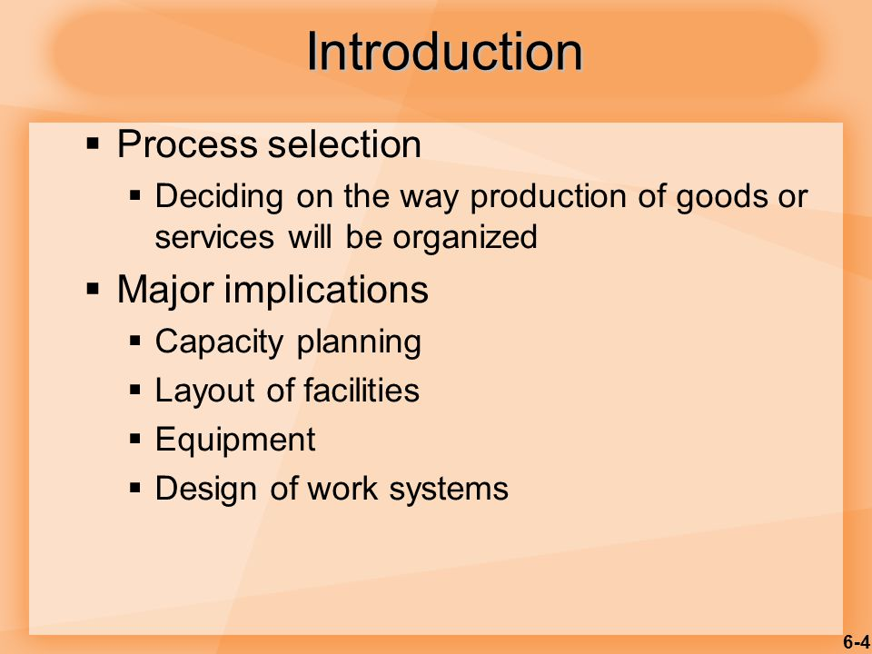 6-25 Raw materials or customer Finished item Station 2 Station 2 Station 3 Station 3 Station 4 Station 4 Material and/or labor Station 1 Material and/or labor Material and/or labor Material and/or labor Used for Repetitive or Continuous Processing Figure 6.4 Product Layout