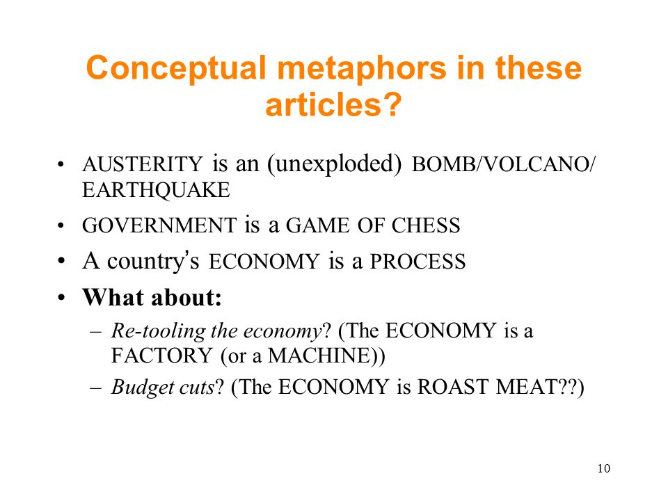 Conceptual metaphors in these articles.