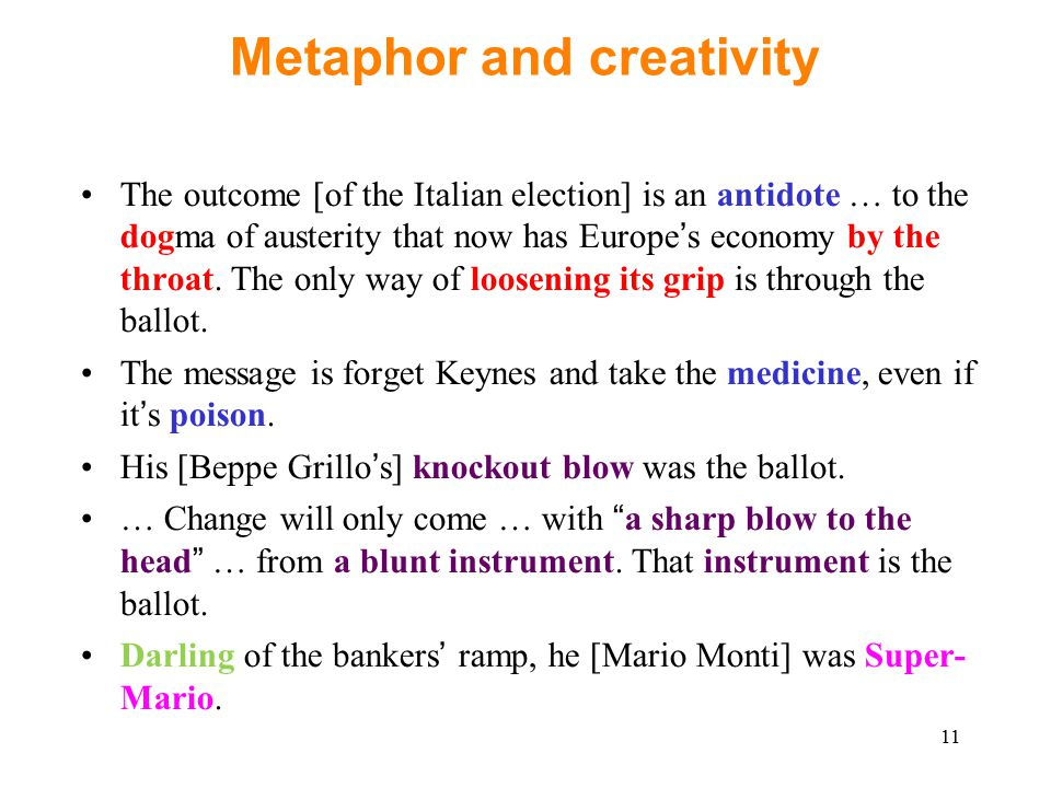 11 Metaphor and creativity The outcome [of the Italian election] is an antidote … to the dogma of austerity that now has Europe's economy by the throat.