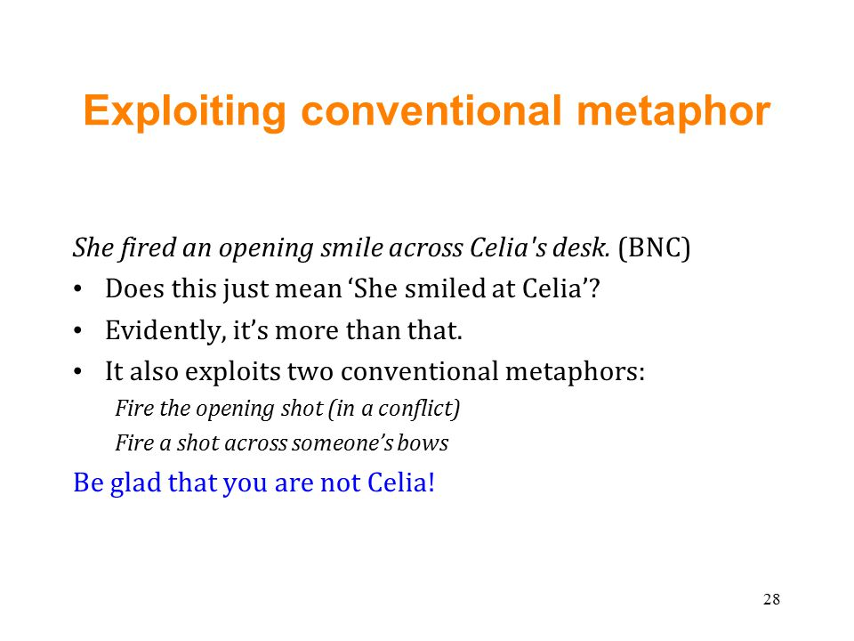 Exploiting conventional metaphor She fired an opening smile across Celia s desk.
