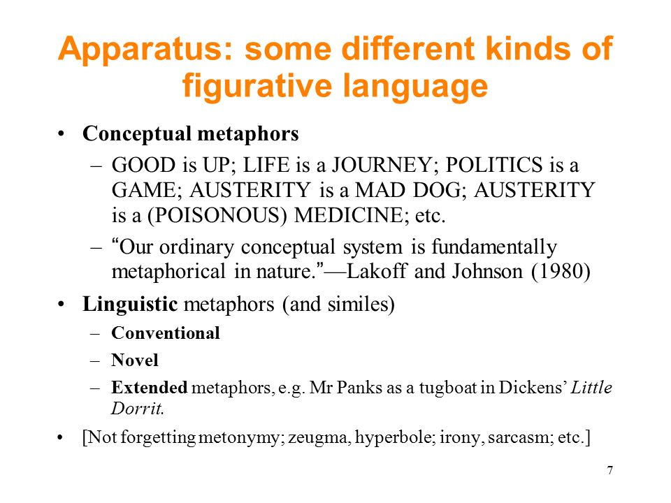 Apparatus: some different kinds of figurative language Conceptual metaphors –GOOD is UP; LIFE is a JOURNEY; POLITICS is a GAME; AUSTERITY is a MAD DOG; AUSTERITY is a (POISONOUS) MEDICINE; etc.