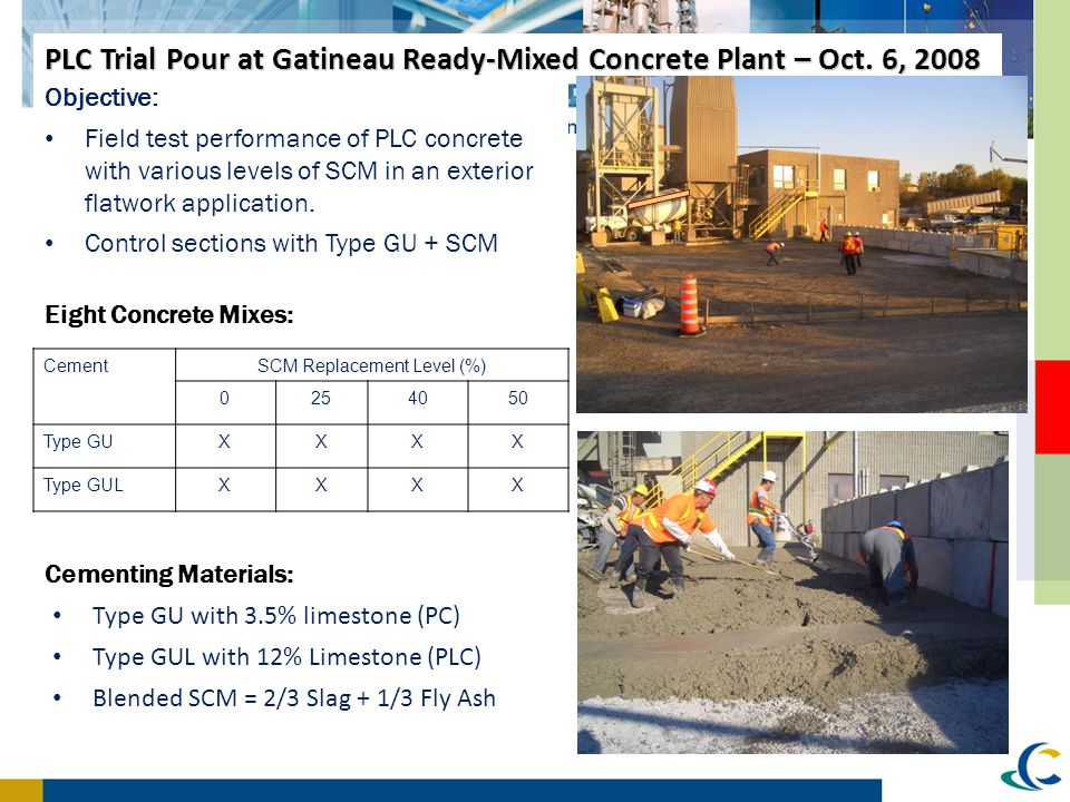 PLC Trial Pour at Gatineau Ready-Mixed Concrete Plant – Oct. 6, 2008 Objective: Field test performance of PLC concrete with various levels of SCM in a
