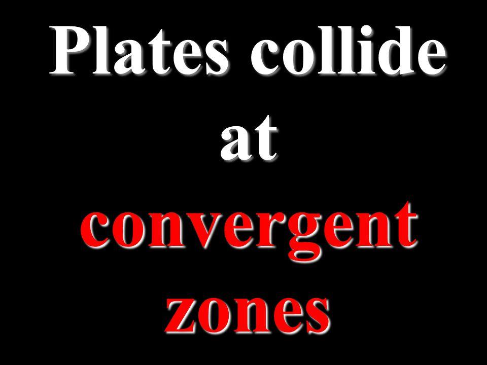 Plates collide at convergent zones