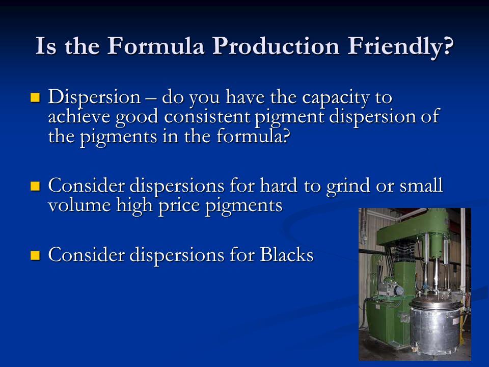 Is the Formula Production Friendly.