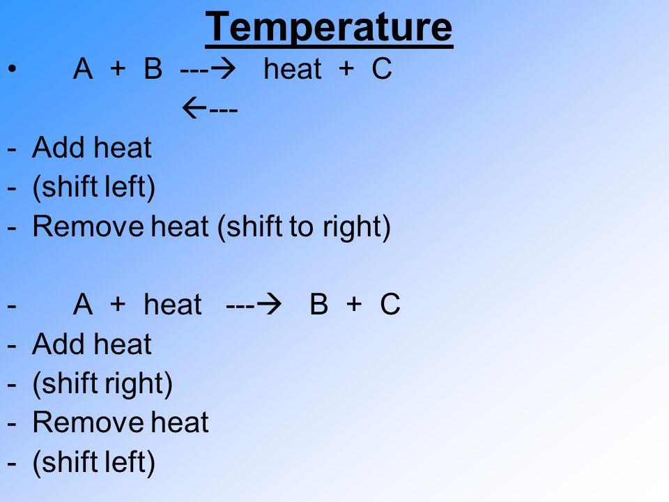 Temperature A + B ---  heat + C  --- -Add heat -(shift left) -Remove heat (shift to right) - A + heat ---  B + C -Add heat -(shift right) -Remove heat -(shift left)