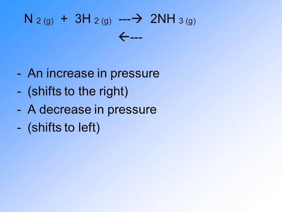 N 2 (g) + 3H 2 (g) ---  2NH 3 (g)  --- -An increase in pressure -(shifts to the right) -A decrease in pressure -(shifts to left)