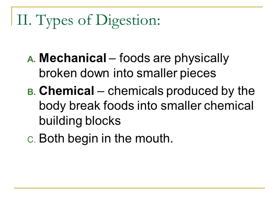 II. Types of Digestion: A. Mechanical – foods are physically broken down into smaller pieces B. Chemical – chemicals produced by the body break foods