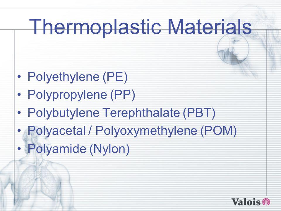 Thermoplastic Materials Polyethylene (PE) Polypropylene (PP) Polybutylene Terephthalate (PBT) Polyacetal / Polyoxymethylene (POM) Polyamide (Nylon)