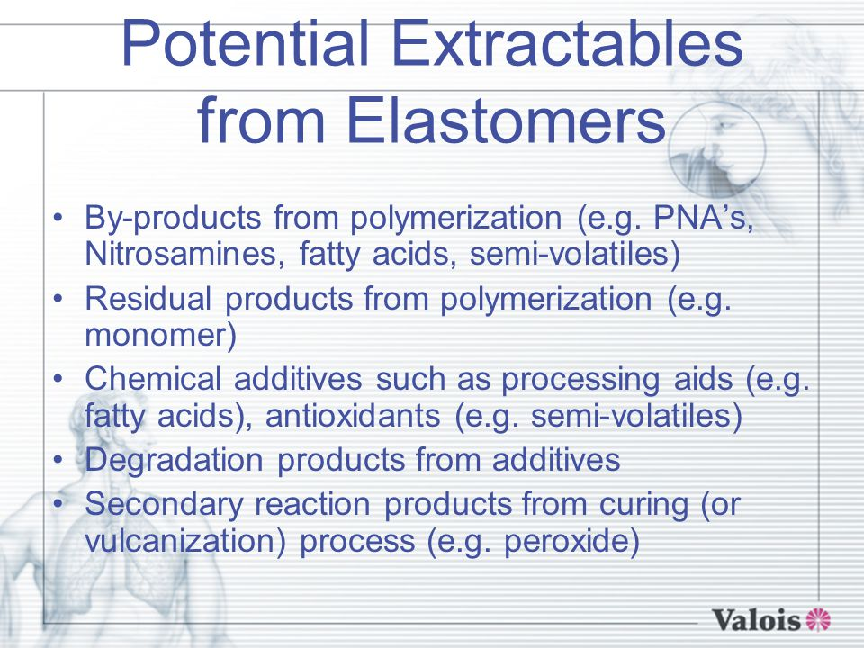 Potential Extractables from Elastomers By-products from polymerization (e.g.