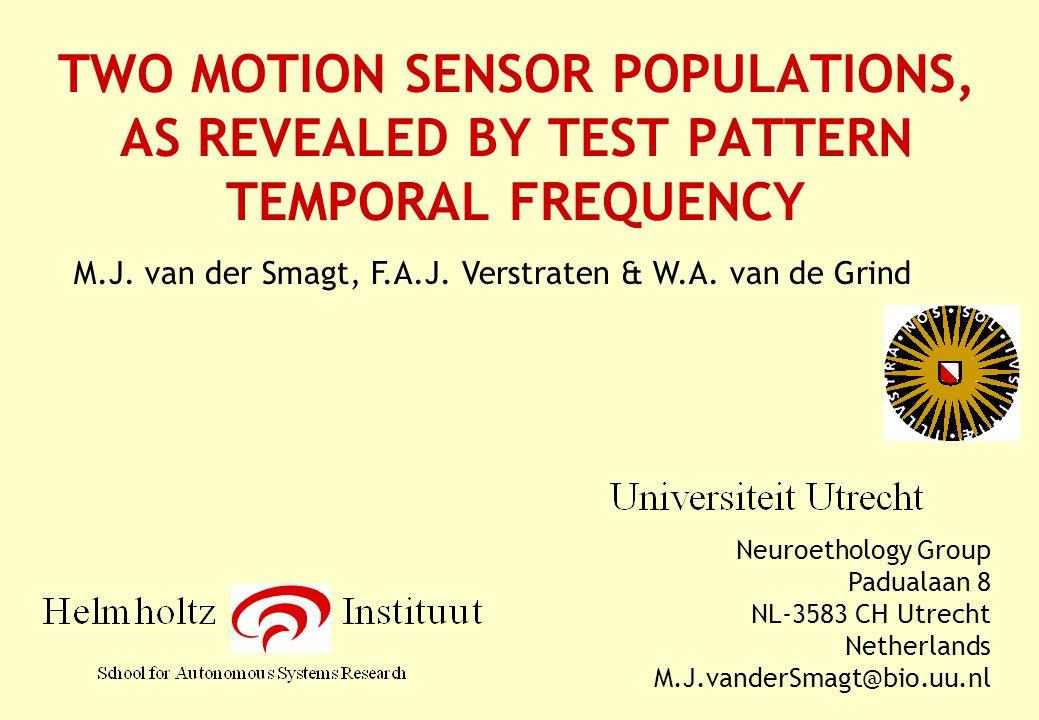 TWO MOTION SENSOR POPULATIONS, AS REVEALED BY TEST PATTERN TEMPORAL FREQUENCY Neuroethology Group Padualaan 8 NL-3583 CH Utrecht Netherlands M.J.vanderSmagt@bio.uu.nl M.J.
