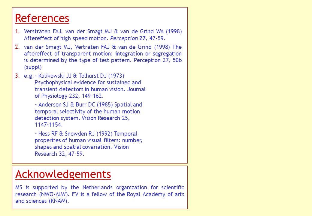 References 1.Verstraten FAJ, van der Smagt MJ & van de Grind WA (1998) Aftereffect of high speed motion.