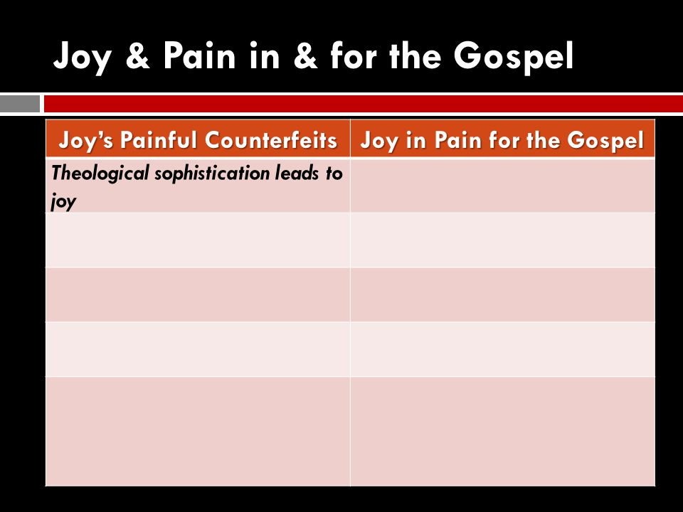 Joy & Pain in & for the Gospel Joy's Painful Counterfeits Joy in Pain for the Gospel Theological sophistication leads to joy