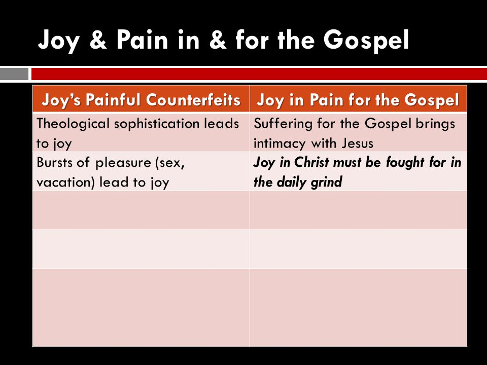 Joy & Pain in & for the Gospel Joy's Painful Counterfeits Joy in Pain for the Gospel Theological sophistication leads to joy Suffering for the Gospel