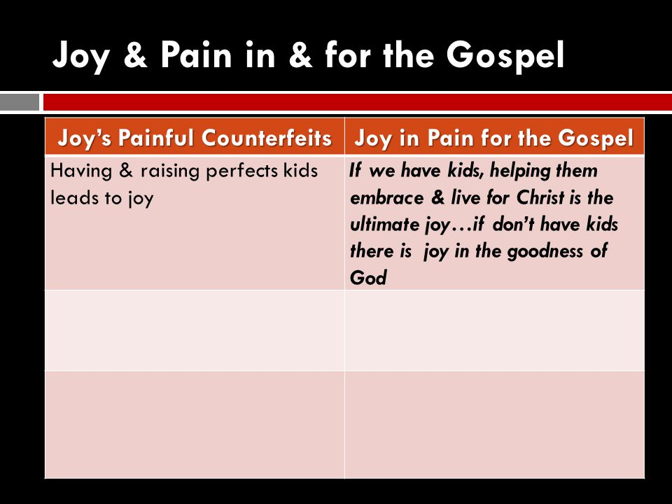 Joy & Pain in & for the Gospel Joy's Painful Counterfeits Joy in Pain for the Gospel Having & raising perfects kids leads to joy If we have kids, help