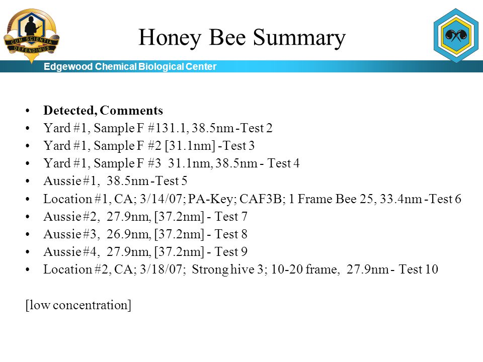 Edgewood Chemical Biological Center Honey Bee Summary Detected, Comments Yard #1, Sample F #131.1, 38.5nm -Test 2 Yard #1, Sample F #2 [31.1nm] -Test 3 Yard #1, Sample F #3 31.1nm, 38.5nm - Test 4 Aussie #1, 38.5nm -Test 5 Location #1, CA; 3/14/07; PA-Key; CAF3B; 1 Frame Bee 25, 33.4nm -Test 6 Aussie #2, 27.9nm, [37.2nm] - Test 7 Aussie #3, 26.9nm, [37.2nm] - Test 8 Aussie #4, 27.9nm, [37.2nm] - Test 9 Location #2, CA; 3/18/07; Strong hive 3; 10-20 frame, 27.9nm - Test 10 [low concentration]