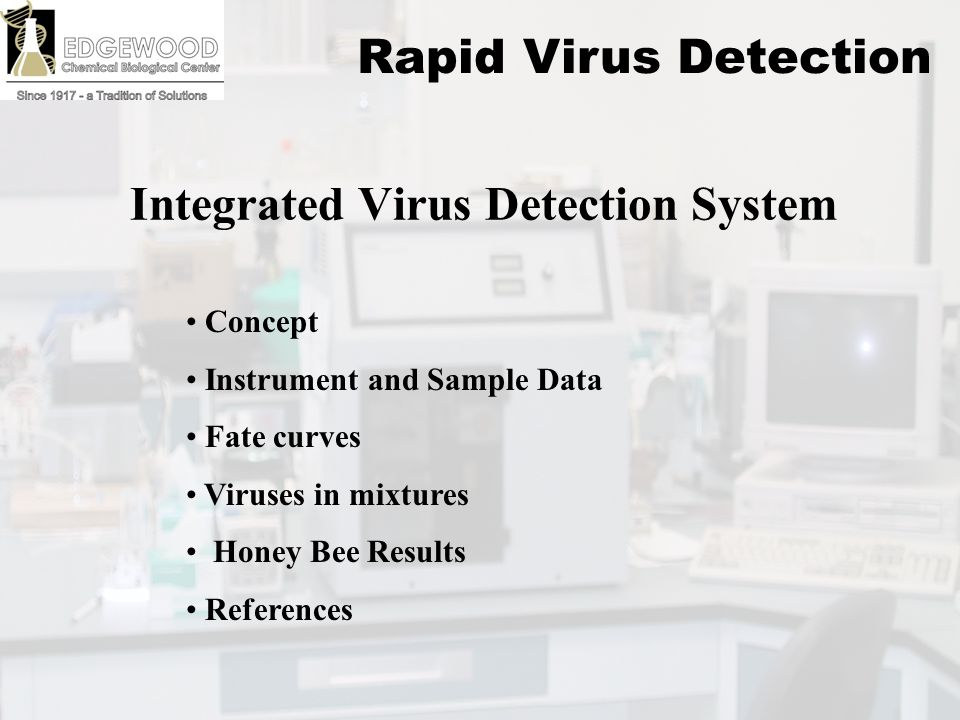 Edgewood Chemical Biological Center Integrated Virus Detection System Concept Instrument and Sample Data Fate curves Viruses in mixtures Honey Bee Results References Rapid Virus Detection