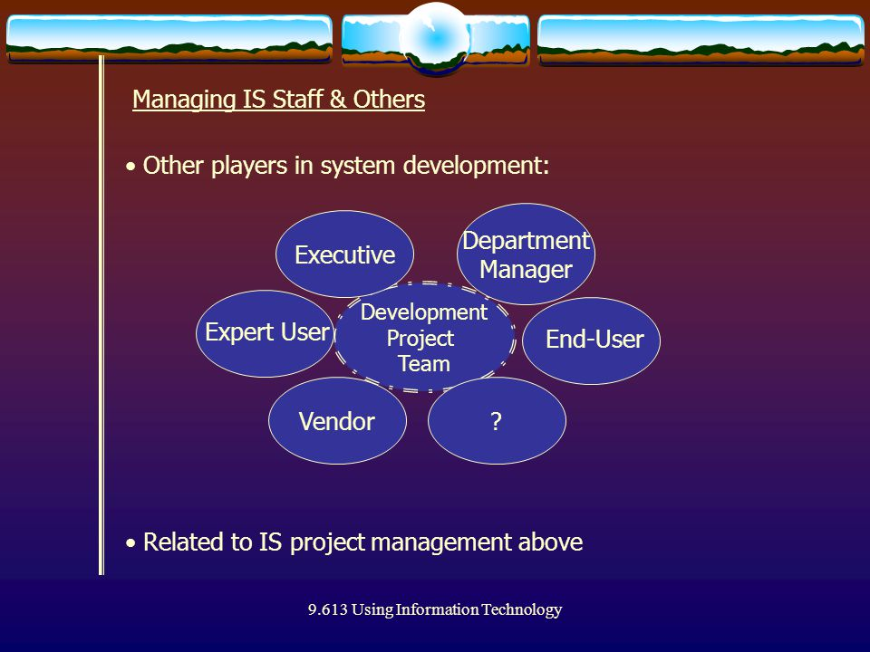 9.613 Using Information Technology Other players in system development: Managing IS Staff & Others Development Project Team Vendor Executive Department Manager End-User .