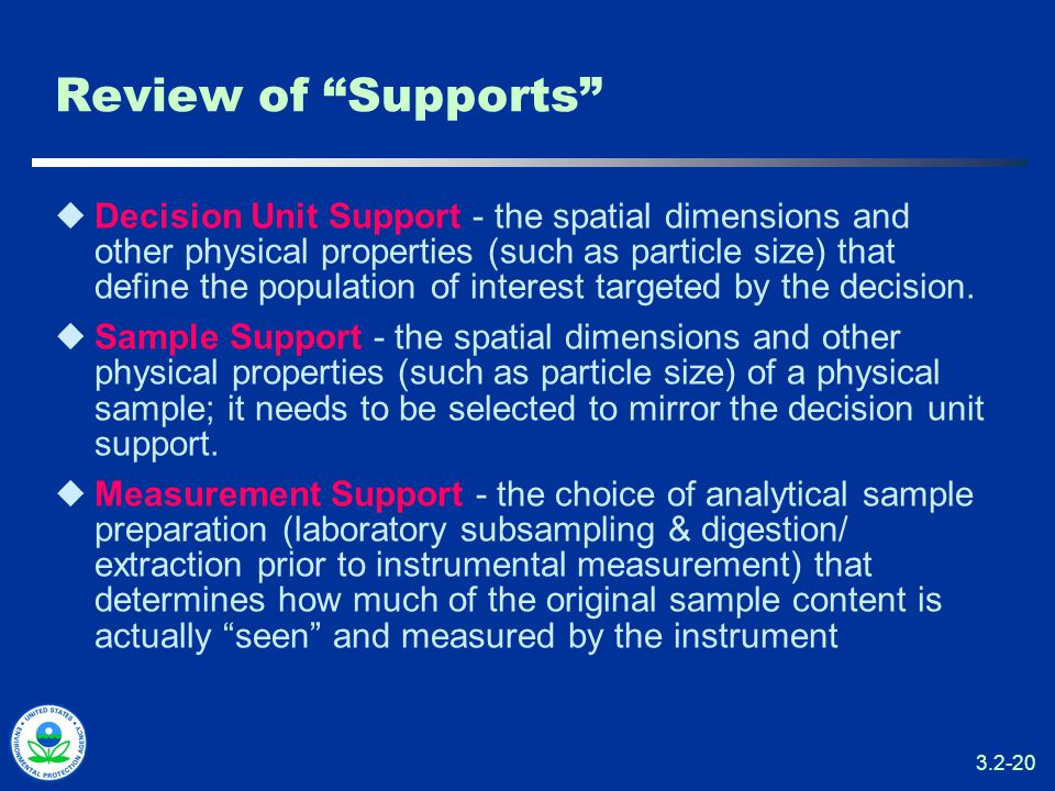 3.2-20 Review of Supports  Decision Unit Support - the spatial dimensions and other physical properties (such as particle size) that define the population of interest targeted by the decision.