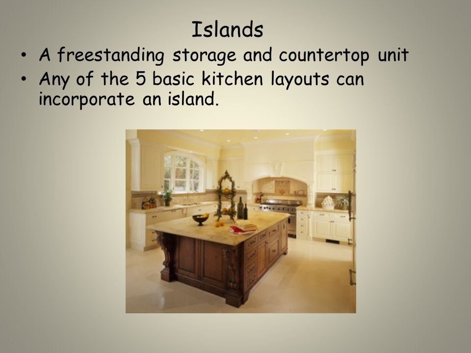 L-Shaped Kitchen Appliances and cabinets are arranged along 2 adjoining walls Allows an open area that may be used for dining.