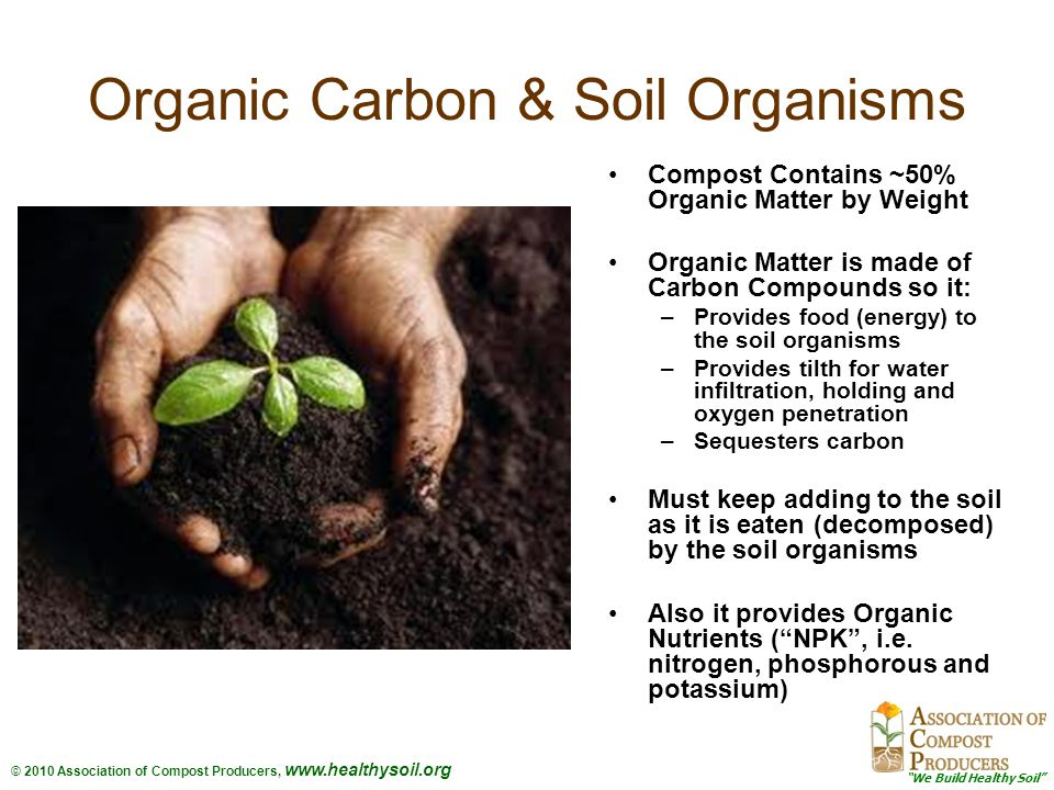 We Build Healthy Soil © 2010 Association of Compost Producers, www.healthysoil.org COMPOST: From Dead Dirt, to Living Soil Main Applications –Landscape –Agriculture –Erosion Control and Restoration Specifications are Key –User Driven Specifications –Landscape Specifications (Manual) –Compost Use Index