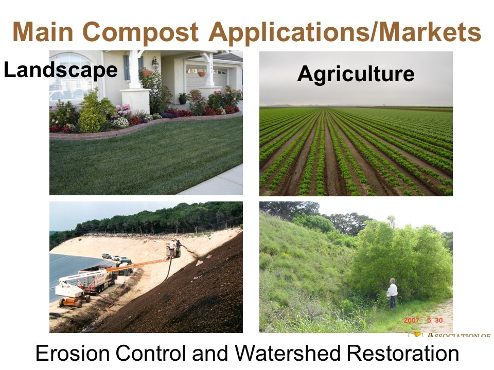 We Build Healthy Soil © 2010 Association of Compost Producers, www.healthysoil.org The Organics Value Cycle Generate: Landscape trimmings Food/Ag waste Biosolids Manure Use: Landscape Agriculture Environmental Bioenergy Haul, Pre-process: Process: Compost Chip and Grind Anaerobic Digestion Fertilizer Energy (gas, electric) Market: Compost Fertilizer Energy Gov.