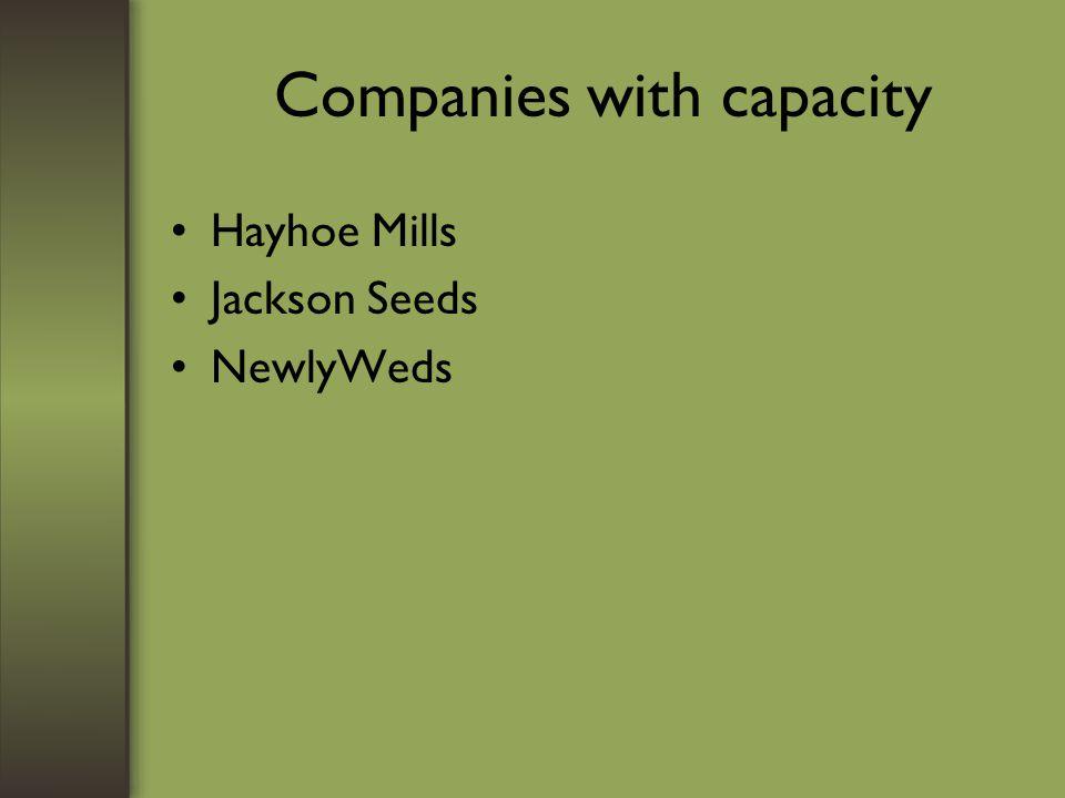 Companies with capacity Hayhoe Mills Jackson Seeds NewlyWeds