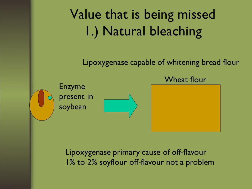 Value that is being missed 1.) Natural bleaching Lipoxygenase capable of whitening bread flour Lipoxygenase primary cause of off-flavour 1% to 2% soyf