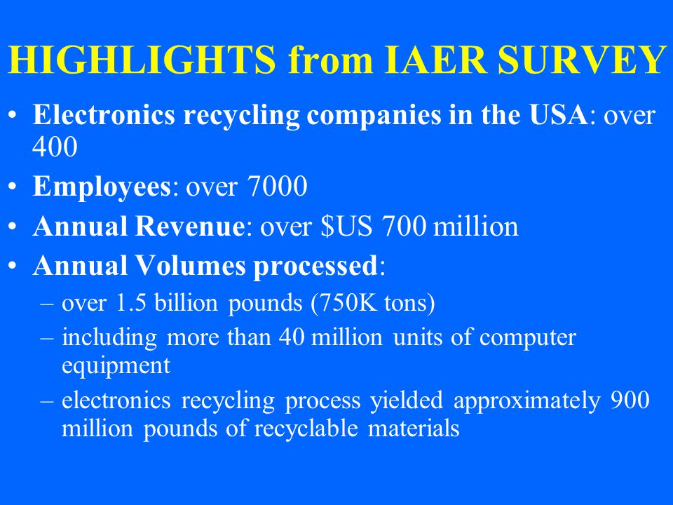 HIGHLIGHTS from IAER SURVEY Electronics recycling companies in the USA: over 400 Employees: over 7000 Annual Revenue: over $US 700 million Annual Volumes processed: –over 1.5 billion pounds (750K tons) –including more than 40 million units of computer equipment –electronics recycling process yielded approximately 900 million pounds of recyclable materials