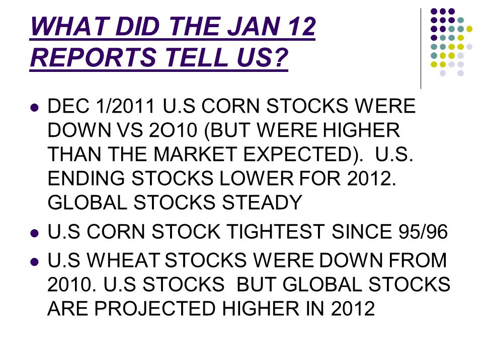 WHAT DID THE JAN 12 REPORTS TELL US.
