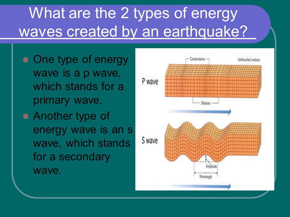 What are the 2 types of energy waves created by an earthquake.