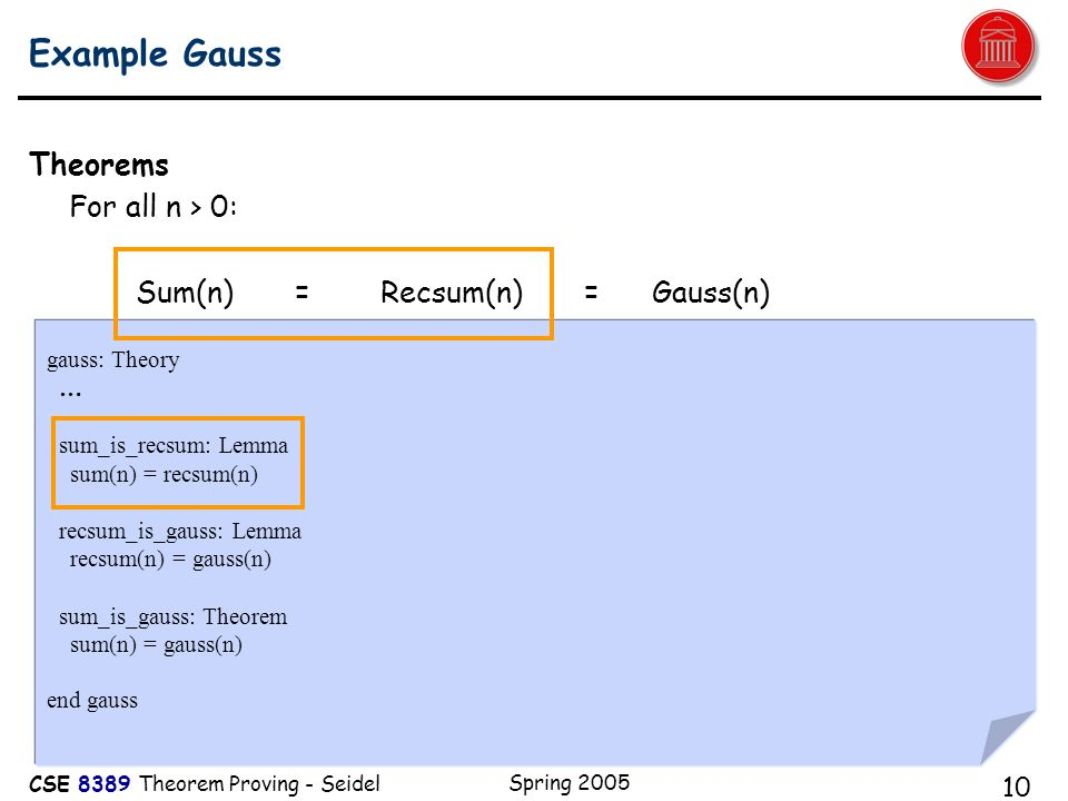 CSE 8389 Theorem Proving - Seidel Spring 2005 10 Example Gauss Theorems For all n > 0: Sum(n) = Recsum(n) = Gauss(n) gauss: Theory … sum_is_recsum: Lemma sum(n) = recsum(n) recsum_is_gauss: Lemma recsum(n) = gauss(n) sum_is_gauss: Theorem sum(n) = gauss(n) end gauss